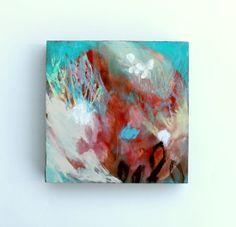 "Small Abstract Painting Mixed Media on Wood Acrylic 6x6 ""No Hurry"""