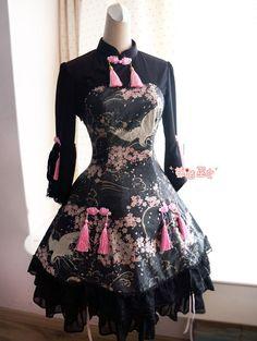 Beautiful unique printed wa lolita dress, the pink/black and sakura blossoms are perfect!