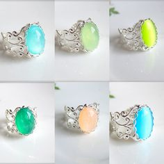 Mint+Green+Ring+Silver+Light+Green+Pale+Green+Cameo+by+Jewelsalem,+$12.00