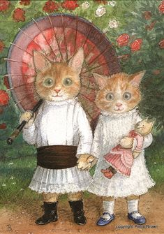 Art by Petra Brown. #cats #art #cute
