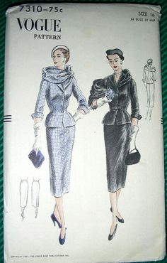 Vogue Sewing Patterns, Vintage Sewing Patterns, Clothing Patterns, Vintage Outfits, Vintage Fashion, Fashion History, Women's Fashion, Jacket Buttons, Fashion Plates