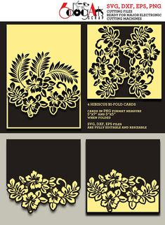 Cricut Wedding Invitations, Wedding Invitation Templates, Kirigami, Folded Cards, Mandala, Card Templates, Wall Signs, Cricut Design, Hibiscus