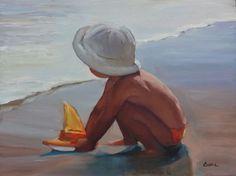 "'Lil Skipper' - 12""x16"" original oil painting of a little boy by the seashore by Maryann Lucas"