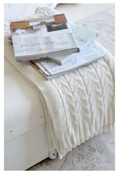 Books on Knitted Throws Hello January, Neutral, Warm And Cozy, Cozy Winter, Warm Blankets, Knitted Throws, Winter House, Shades Of White, Spring Home