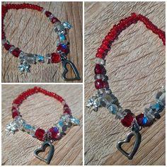 #bracelet #heart #bow #beads #handmade #red