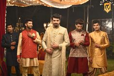 Manvyavar Outfits for The Groom and Groomsmen Stylish Makeover for The Groomsmen by Ensemble Groomsmen Outfits, Groom And Groomsmen, Mens Ethnic Wear, Indian Groom, Groom Wear, Indian Wedding Outfits, Wedding Memorial, Groom Style, Strike A Pose