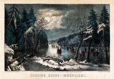 Skating Scene - Moonlight 1868 Currier and Ives (active Canvas Art - Currier & Ives x Canvas Art, Canvas Prints, Art Prints, Currier And Ives, Winter Painting, Winter Scenes, Find Art, Moonlight, Giclee Print