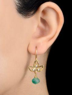 Green Onyx Petal Silver Earrings by Benaazir