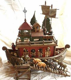 Current Wooden Noah's Ark with Resin Animals.