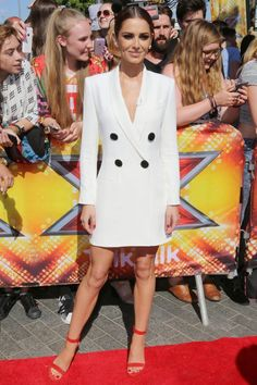 Cheryl Fernandez-Versini wows the crowds in a white tuxedo dress at the X Factor 2015 auditions