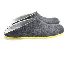 80131bc8d17cd Felt Slippers Gray Black Rubber Soled Men Slippers 100% Wool Felted Slippers  Men House Shoes