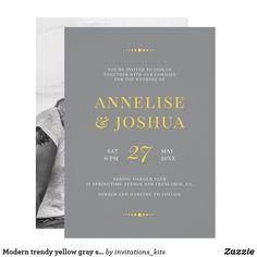 Modern trendy yellow gray simple photo wedding invitation