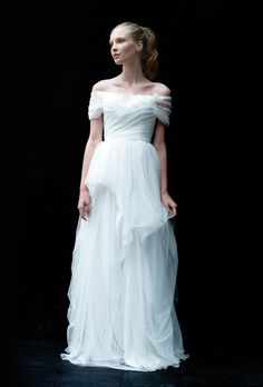 "Love, Yu -  ""Swirl"" off-the-shoulder hand-tufted tulle and lace A-line wedding dress with sheer short sleeves"