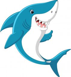 Cute shark giving thumb up Royalty Free Vector Image Baby Animal Names, Baby Animals, Cute Animals, Cartoon Fish, Cute Cartoon, Baby Hai, Cute Shark, Cute Lion, Video X