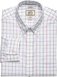 1905 Collection Slim Fit Button-Down Collar Windowpane Dress Shirt