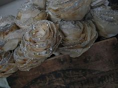 Love the glittery roses with the old crate (from Sweet Magnolias Farm)
