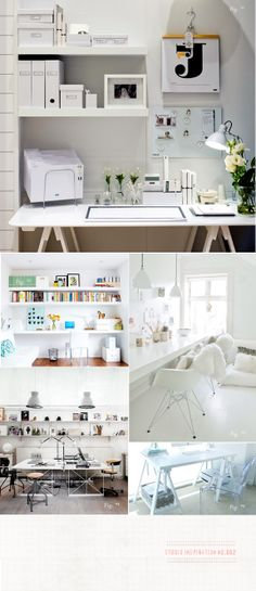 office. amazing collection of lovely white offices. do they still look like this when people are working in them? I turn my office into a cloud of paper, pens, notebooks and product inspiration by day!