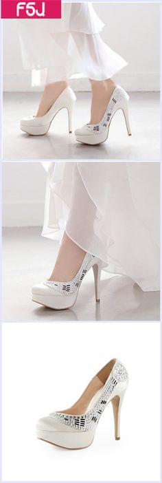 88844dfdd15 White Satin Rhinestone Bridal Heels Platform Chunky Heel Pumps