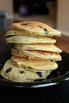 Healthy wheat blueberry pancakes!