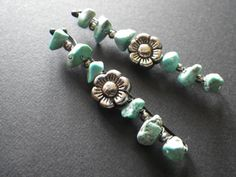 Turquoise Nuggets and Silver Flower Country by CassieVision, $8.00
