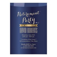 Shop Gold Label Navy Blue Retirement Party Invitations created by myinvitation. Housewarming Party Invitations, Retirement Party Invitations, Retirement Parties, Graduation Invitations, Gold Invitations, Custom Invitations, Invitation Ideas, Gold Labels, Wedding Announcements