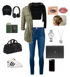 """Travel comfortable"" by kanezabintaba on Polyvore featuring Frame Denim, Beats by Dr. Dre, Eastpak, Royce Leather, Tommy Hilfiger, Karen Kane, Lime Crime, adidas and Incase"