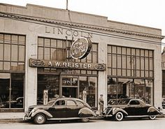 A. W. Reister Ford Dealership in 1939 in Detroit, formerly a Lincoln Dealership in 1926 owned by Peter J. Platte.