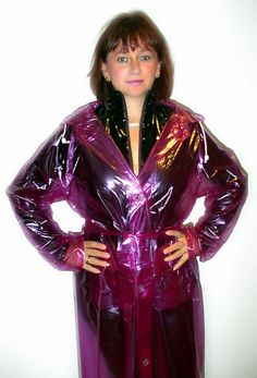 Sexy Gaby wearing a transparent purple traditional PVC Raincoat from http://kemo-cyberfashion.de