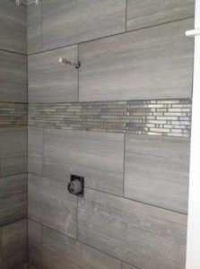 Gray Grout, Bigger Gray Tiles With A Stripe Of Shiny. Pair With Extra Large  Gray Floor Tile Squares And White/gray Marble Vanity Top.