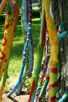 painted sticks.... limbs in your yard? just paint them!!!!!