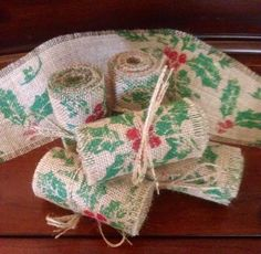 "Primitive Christmas Jute Burlap Garland Ribbon Holly Berries Rustic Fabric 4"" #Primitive #Handmade #Burlap"