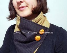 Neck Warmer, Cowl, Winter Scarf, Upcycled Clothing, Repurposed Tan Tartan Plaid and Gray Pinstripes with Tan Buttons  Christina Robinson Designs  www.FashionCogs.Etsy.com