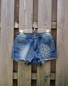 Badass denim; every girl needs a pair! #shorts #denim #studs #studded #fashion