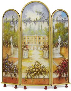 THE ELEGANCE OF A ROOM DIVIDER = A frescoed room divider depicting a landscape created by an artist at Mariani Affreschi www.italian-fresc...
