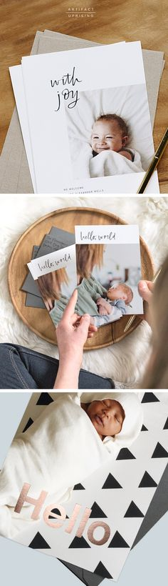 For the newest little one in your life. |  Say Hello to @artifactuprsng's Birth Announcements. They're customizable & crafted with 100% Recycled Paper.