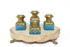 19th c. perfume set with opaline glass. Handpainted bone tops, bronze mounted, Italian scenes