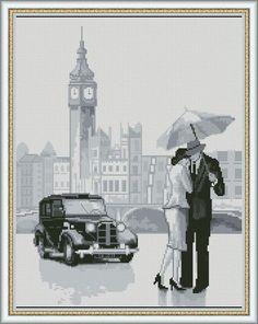 0 point de croix femme et amoureux sous la pluie de londres - cross stitch lady and lover under the rain of london