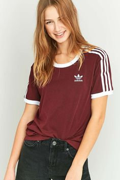 adidas Originals 3 Stripe Maroon T-shirt - Urban Outfitters