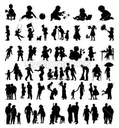 Silhouettes of a family and children it is black colours. A vector illustration