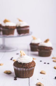 chocOlate banana muffins with whipped cream & banana chips