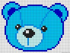 Free Teddybear Cross Stitch Chart or Hama Perler Bead Pattern