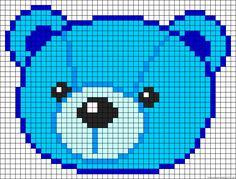 Free Teddybear Cross Stitch Chart or Hama Perler Bead Pattern