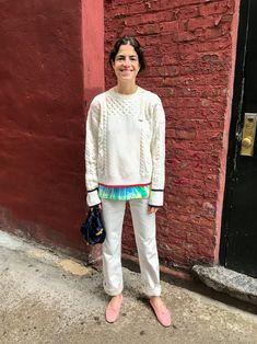 Office Apropos: 24 More Spring Outfits We Wore Last Week - Man Repeller Yves Saint Laurent, Cropped Flare Pants, We Wear, How To Wear, Leandra Medine, Man Repeller, Vintage Coat, Vintage Shorts, Dye T Shirt
