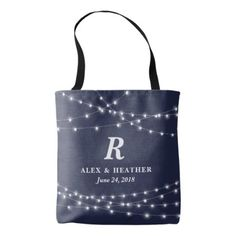 #monogrammed - #String of Lights Monogram Personalized Wedding Day Tote Bag
