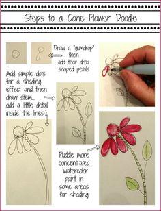 Bible Art Journaling/ Doodles 101/ Cone Flower/ Sue Carroll