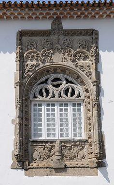 Window in Casa dos Coimbras, São João do Souto, Braga, Portugal.