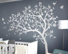 Tree wall decals with birds Large tree in the wind wall art