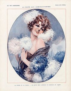 "Art Deco Darling - 1925 Lady of the Chrysanthemums by Maurice Milliere for ""La Vie Parisienne""."