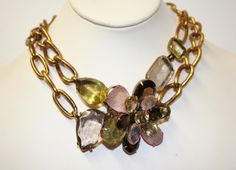 iradj moini jewelry | Iradj Moini Necklace - Citrine rose quartz and topaz stones - signed