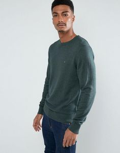 TOMMY HILFIGER PIMA COTTON CASHMERE CREW NECK SWEATER IN GREEN - GREEN. #tommyhilfiger #cloth #
